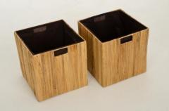 Úložné boxy TAO, drevo / vodný hyacint, 32 cm, natur, 2 ks