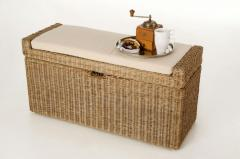Sedacie lavice s úložným priestorom COMBO, ratan, šírka 105 cm, svetlo šedá