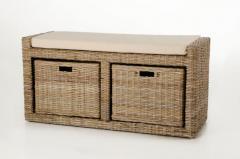 Sedacie lavice s úložným priestorom LORANTE, ratan, šírka 105 cm, odtieň Koobo g