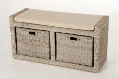 Sedacie lavice s úložným priestorom LORANTE, ratan, šírka 105 cm, odtieň White W