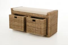 Sedacie lavice s úložným priestorom LORANTE, ratan, šírka 105 cm, svetlo šedá