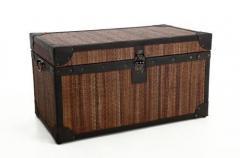 Vintage truhla z ratanu s kožou BALI, šírka 80 cm, hnedá